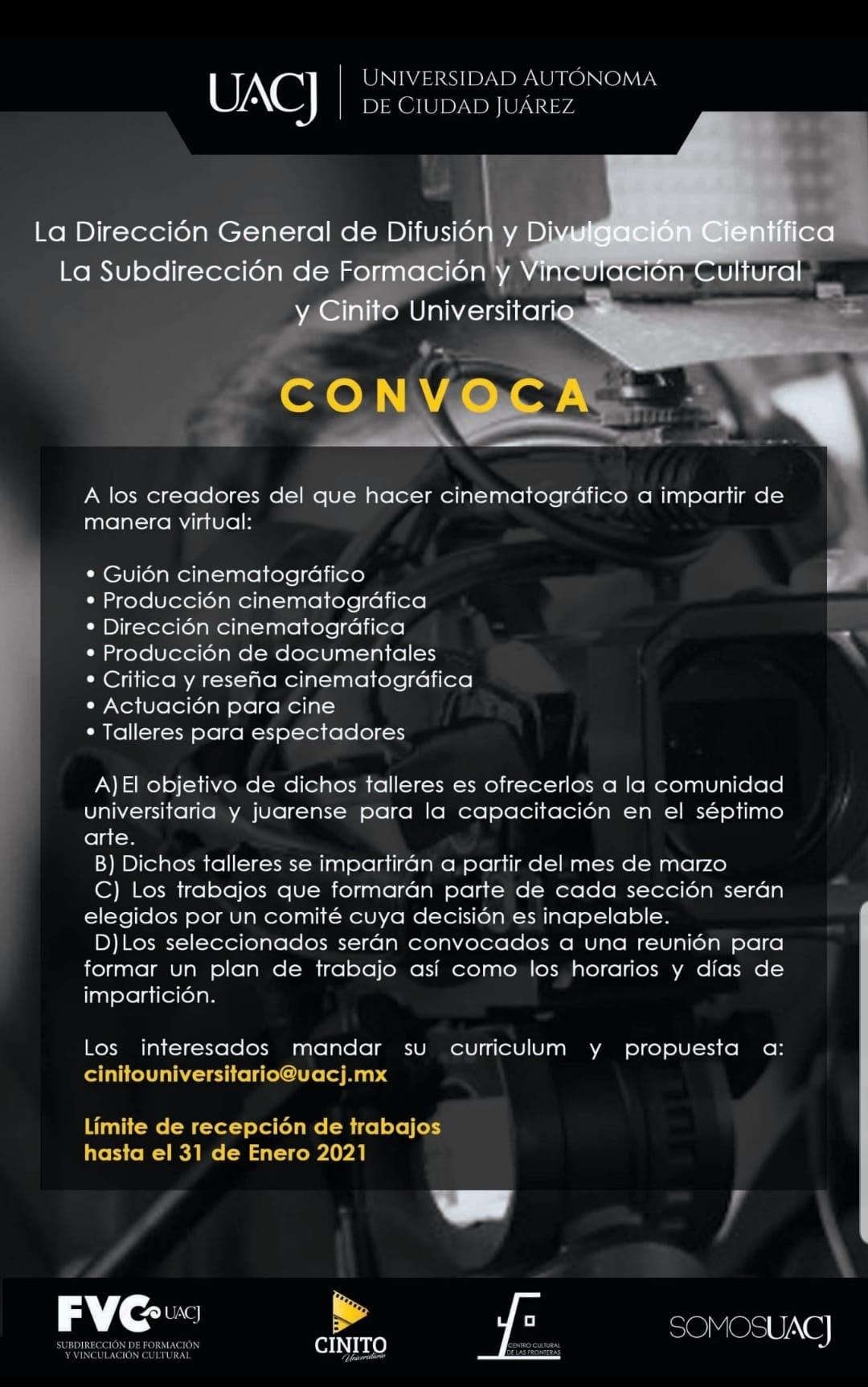La UACJ recibirá propuestas para talleres cinematográficos