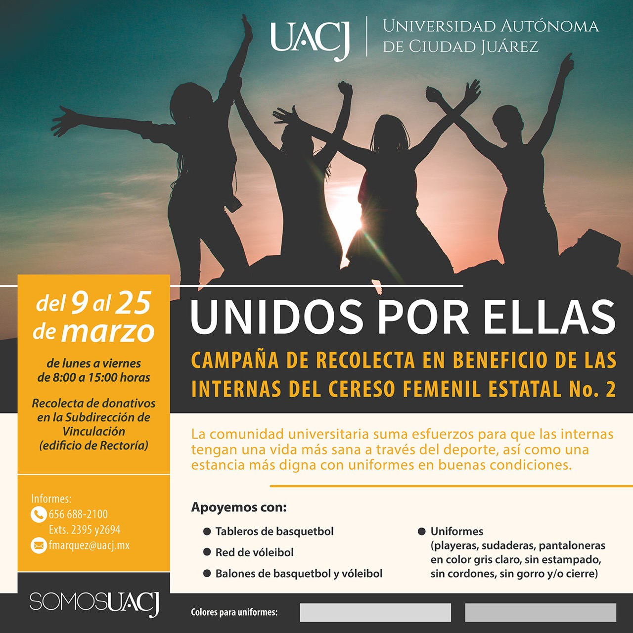 """Unidos por ellas"" en beneficio del CERESO femenil No.2"